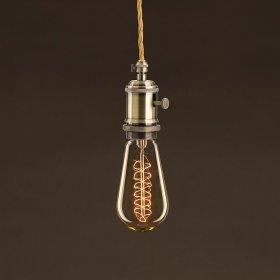 Ampoule Vintage Dorée Edison ST58 Filament Carbone a double spirale 25 W E27 Dimmable 2000K