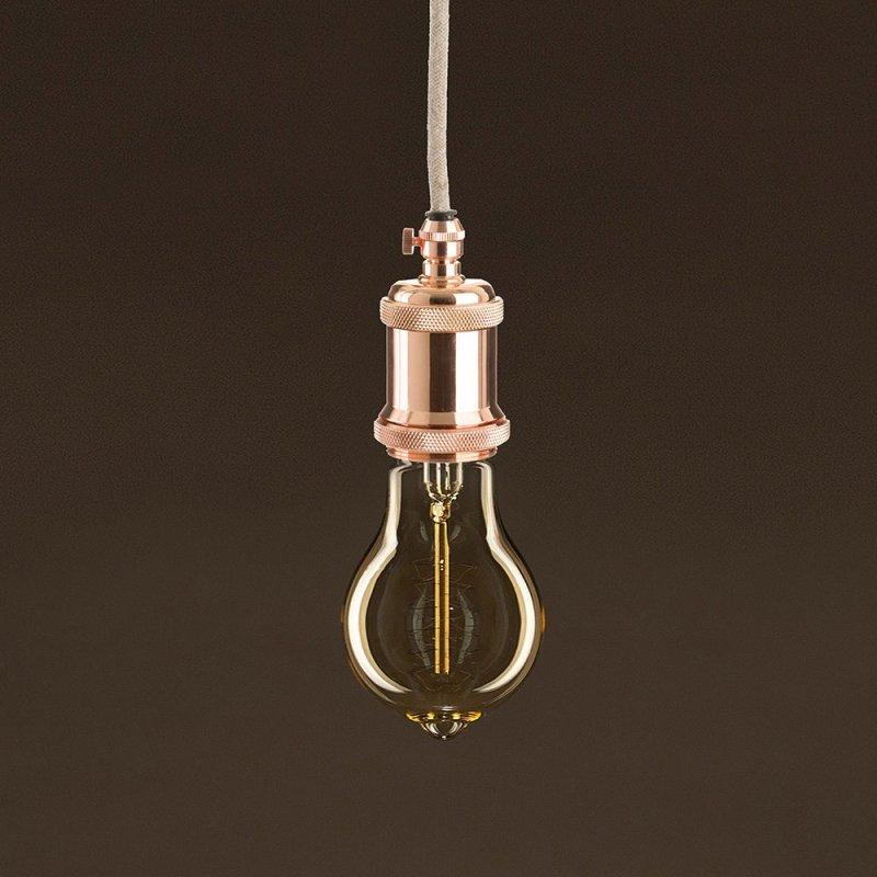 Ampoule Vintage Dorée Goutte A60 Filament Carbone a double spirale 25 W E27 Dimmable 2000K