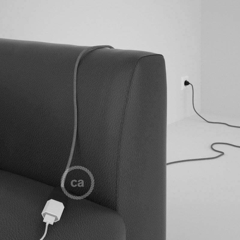 Rallonge électrique avec câble textile RN02 Lin Naturel Gris 2P 10A Made in Italy.