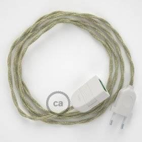 Rallonge électrique avec câble textile TN01 Lin Naturel Neutre 2P 10A Made in Italy.