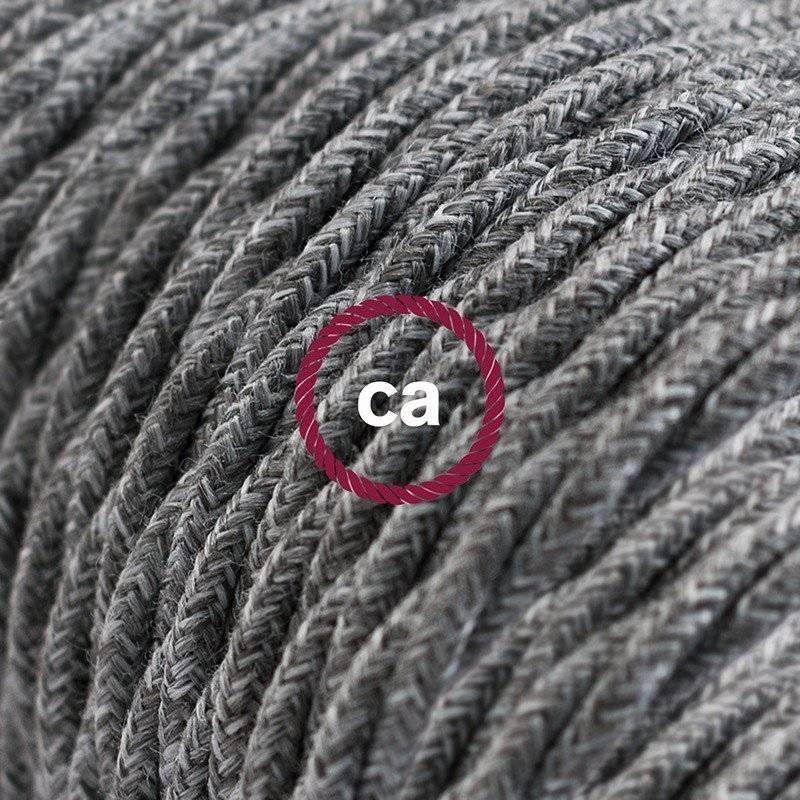 Rallonge électrique avec câble textile TN02 Lin Naturel Gris 2P 10A Made in Italy.