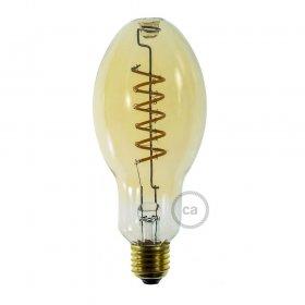 Ampoule Dorée LED E75 bougie Filament courbe double spirale 4W E27 Dimmable 2000K