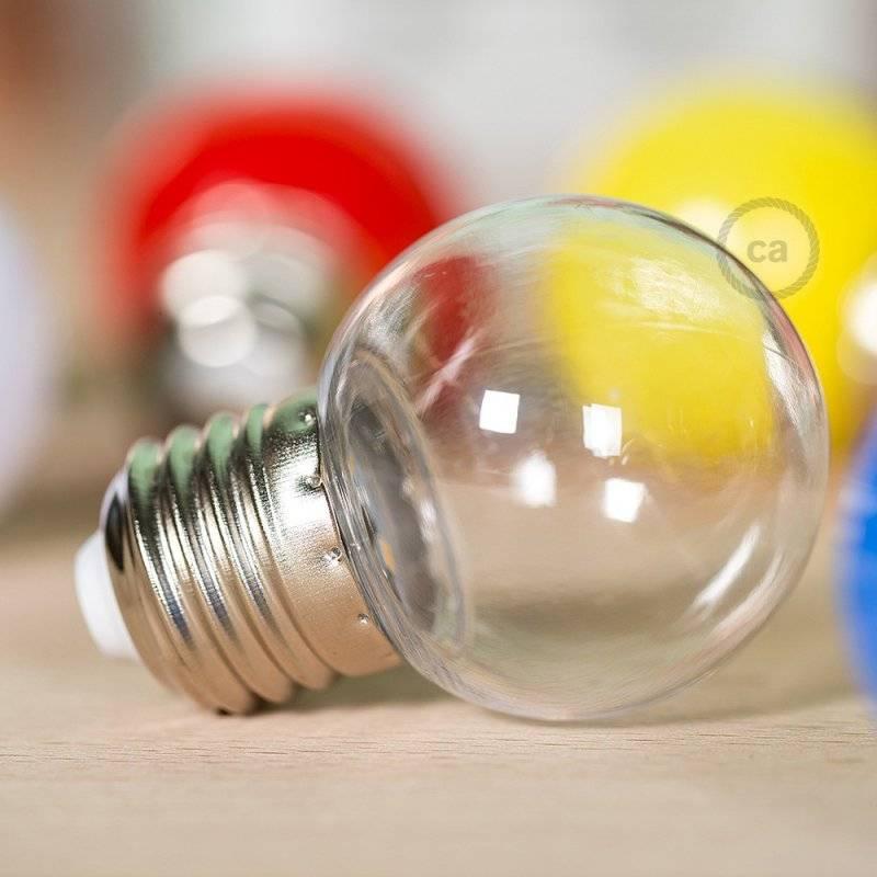 Ampoule décorative G45 Mini Globe LED 1W E27 2700K - Transparente