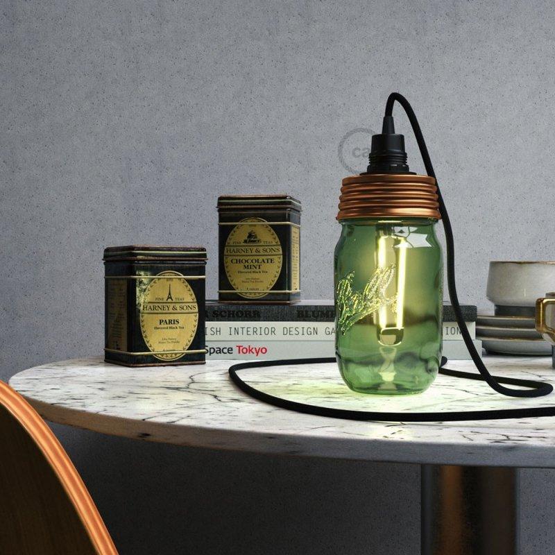 Kit éclairage pour bocal en verre en metal couleur Bronze avec serre-câble conique et douille E14 noire en bakélite