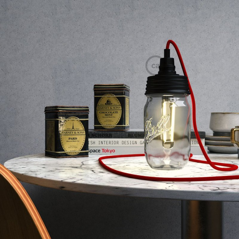 Kit éclairage pour bocal en verre en metal couleur Noir avec serre-câble cylindrique et douille E14 noire en bakélite