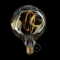 Ampoule Dorée Globe LED - G125 Filament simple avec verre irrégulier - 2.5W E27 Décorative Vintage 2000K