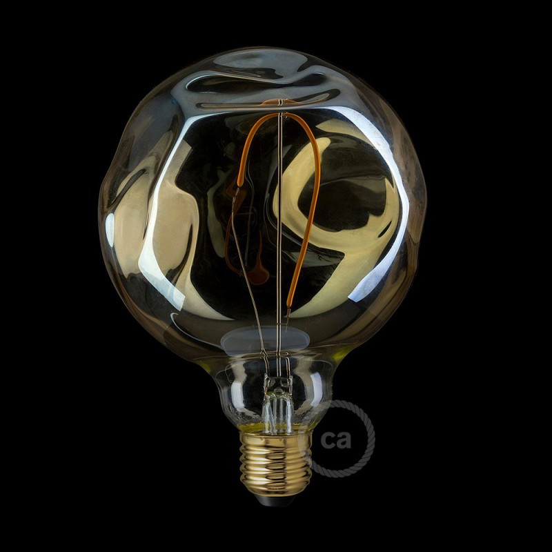 ampoule dor e globe led g125 filament simple avec verre irr gulier 2 5w e27 d corative. Black Bedroom Furniture Sets. Home Design Ideas
