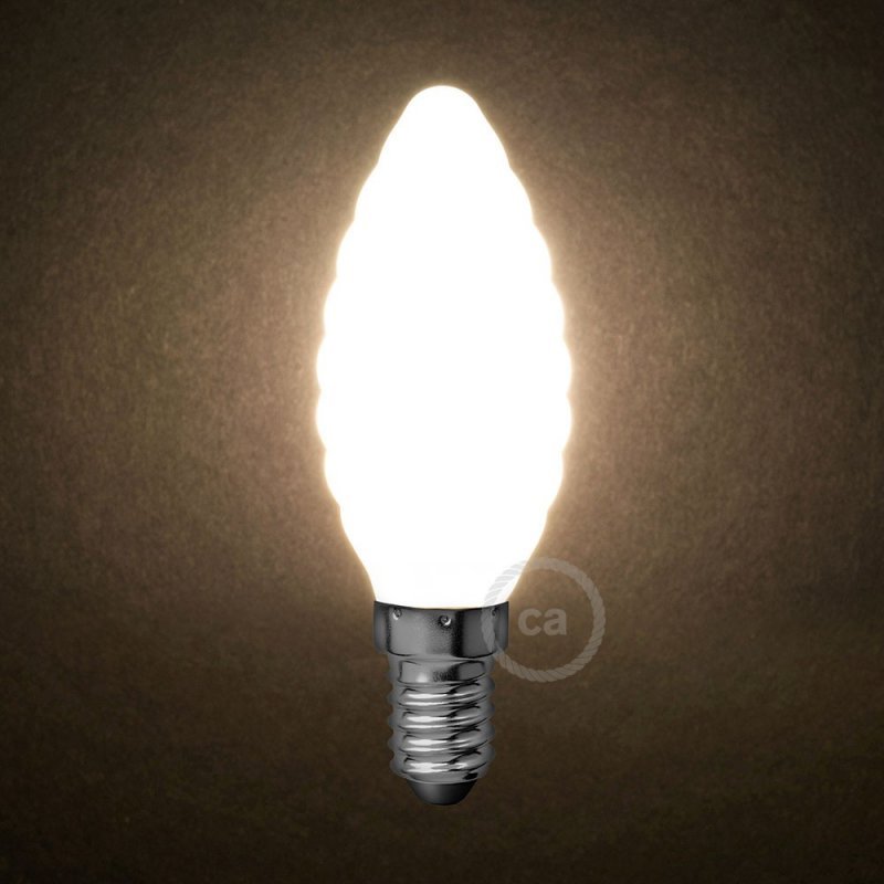 Ampoule LED blanc lait - Torsadé C35 - 4W E14 Dimmable 2700K