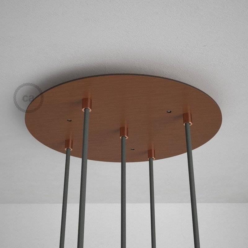 Rosace XXL ronde 35cm à 5 trous cuivre satiné avec les accessoires.