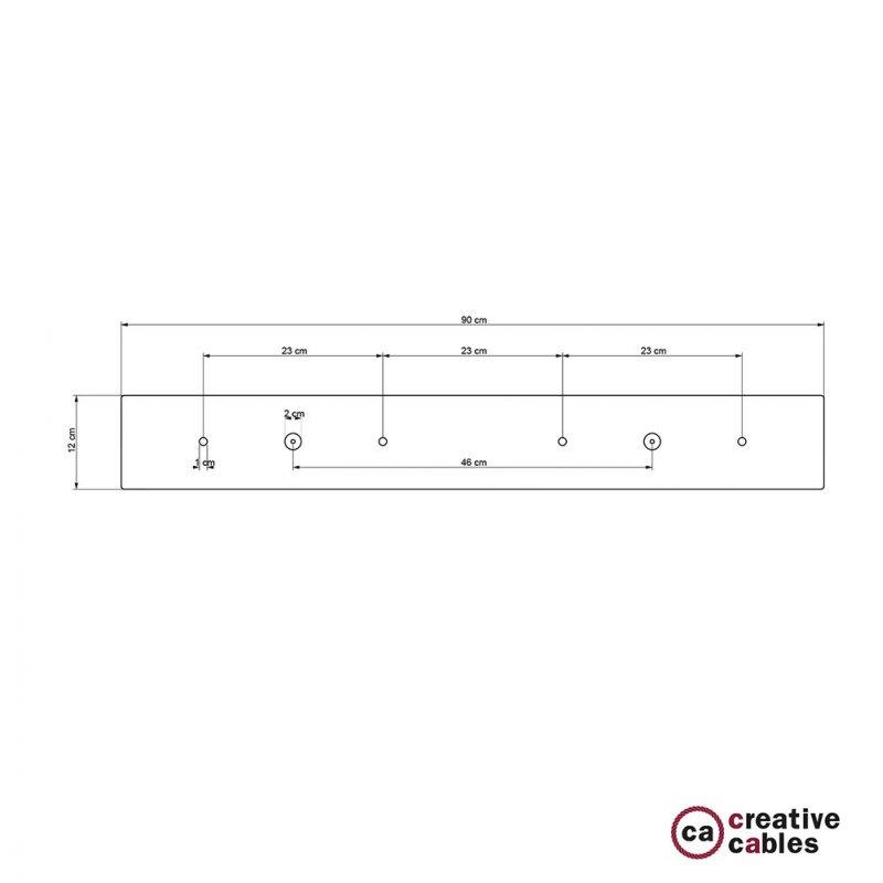 Rosace XXL rectangulaire 90x12cm à 4 trous cuivre satiné avec les accessoires.