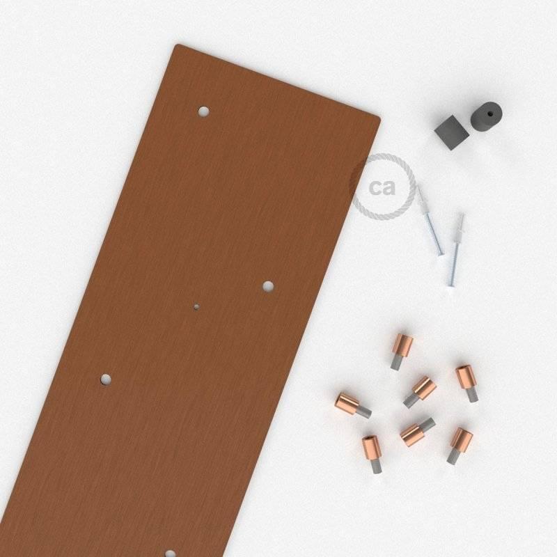 Rosace XXL rectangulaire 90x20cm à 7 trous cuivre satiné avec les accessoires.