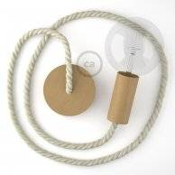 Lampe suspension corde XL en coton brut 16 mm, accessoires en bois naturel, Made in Italy