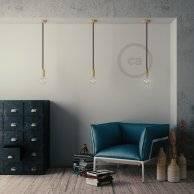 Lampe suspension corde XL en tissu noir brillant 16 mm, accessoires en bois naturel, Made in Italy