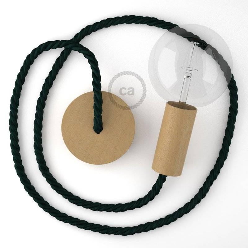 Lampe suspension corde XL en tissu vert foncé brillant 16 mm, accessoires en bois naturel, Made in Italy