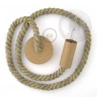 Lampe suspension corde 2XL en jute brute 24 mm, accessoires en bois naturel, Made in Italy