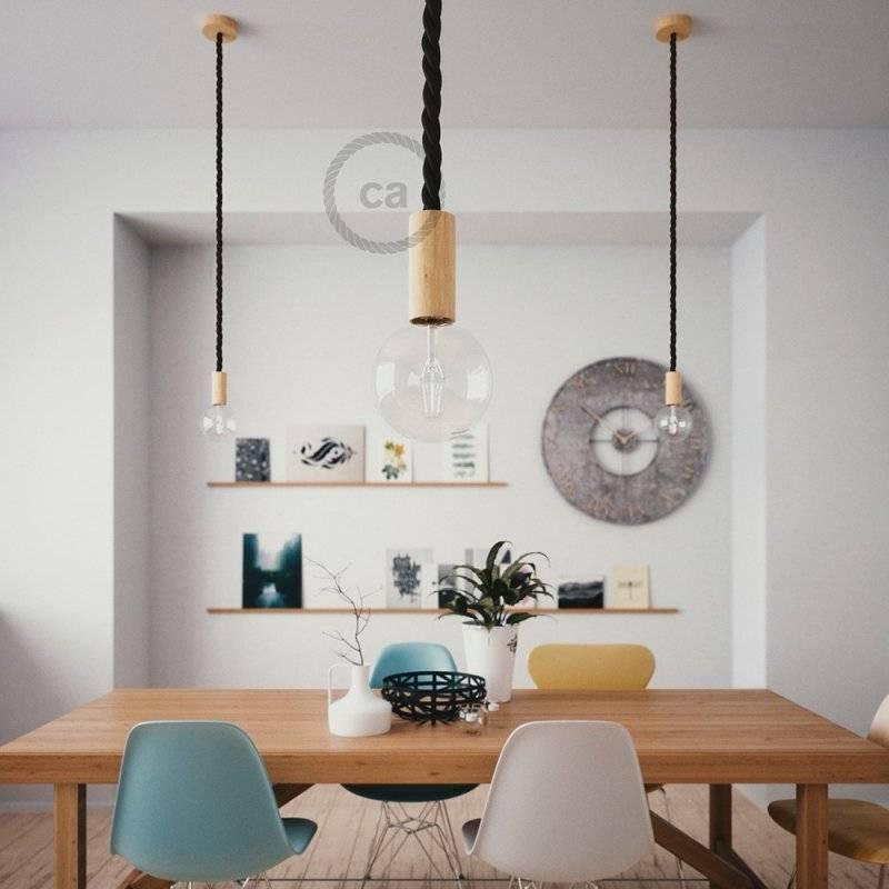 Lampe suspension corde 2XL en tissu noir brillant 24 mm, accessoires en bois naturel, Made in Italy