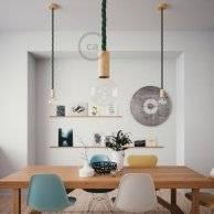 Lampe suspension corde 2XL en tissu vert foncé brillant 24 mm, accessoires en bois naturel, Made in Italy