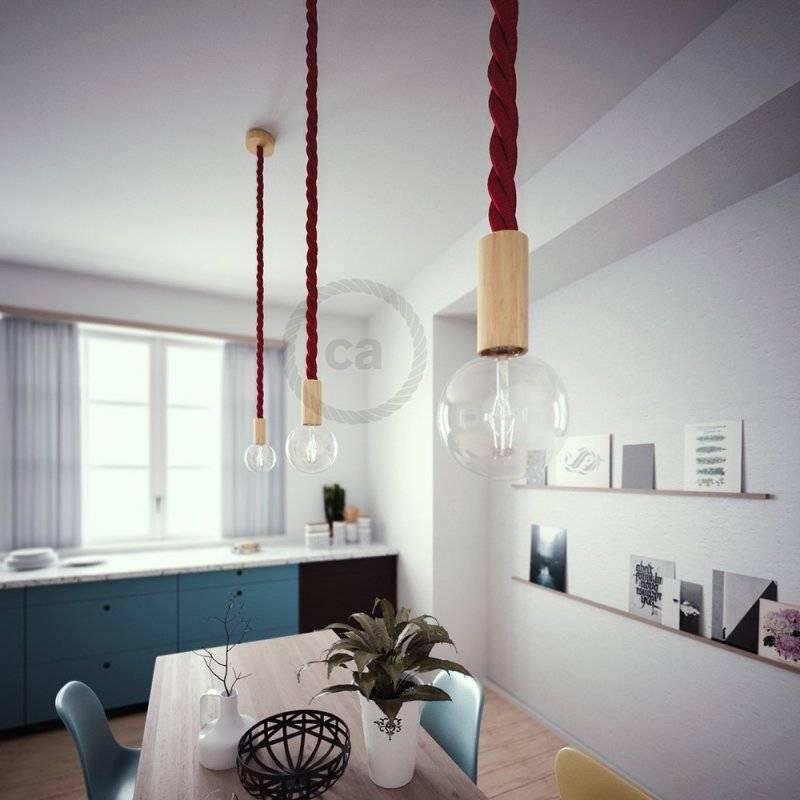 Lampe suspension corde 3XL en tissu bordeaux foncé brillant 30 mm, accessoires en bois naturel, Made in Italy