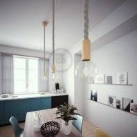 Lampe suspension corde 3XL en lin naturel 30 mm, accessoires en bois naturel, Made in Italy