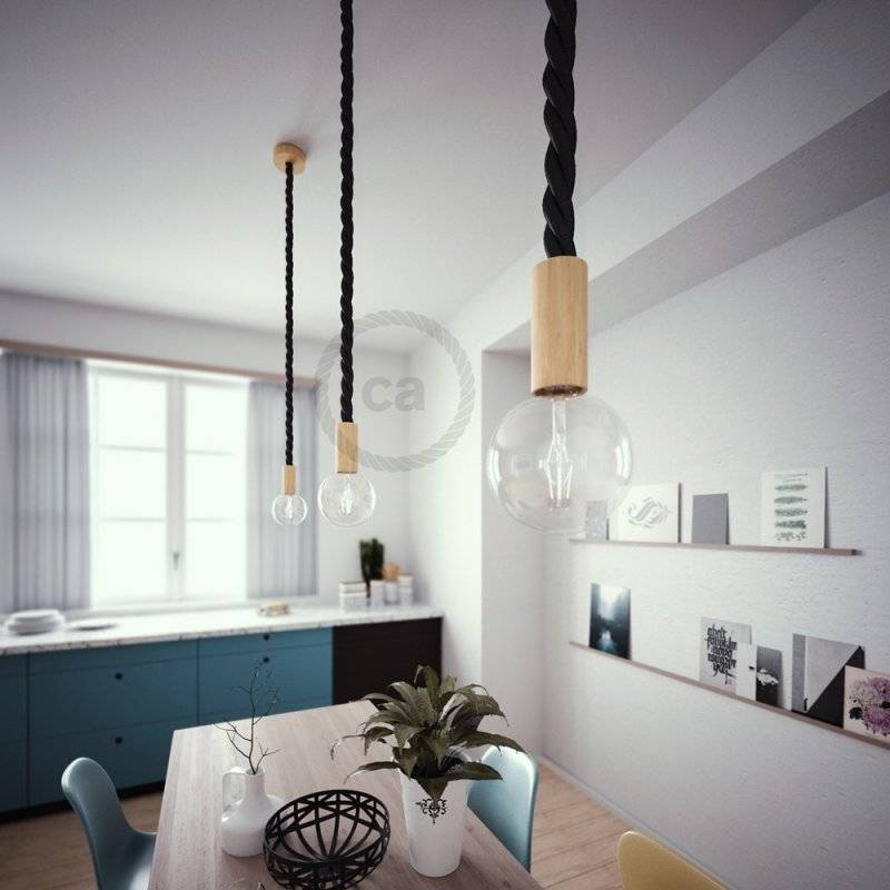 Lampe suspension corde 3XL en tissu noir brillant 30 mm, accessoires en bois naturel, Made in Italy