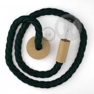 Lampe suspension corde 3XL en tissu vert foncé brillant 30 mm, accessoires en bois naturel, Made in Italy