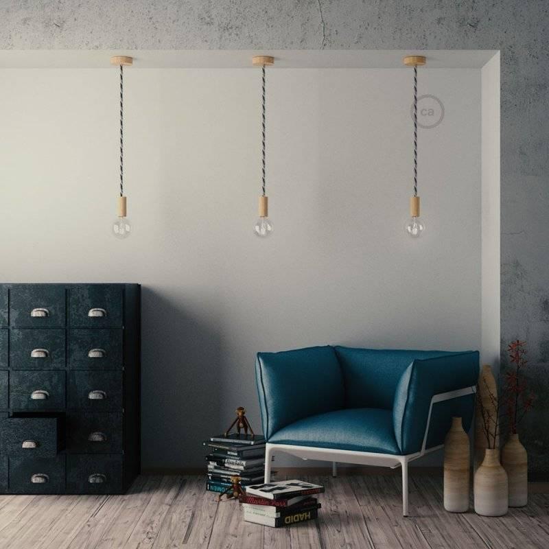 Lampe suspension corde XL en tissu Orleans lucide 16 mm, accessoires en bois naturel, Made in Italy