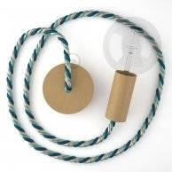 Lampe suspension corde XL en tissu Bernadotte lucide 16 mm, accessoires en bois naturel, Made in Italy