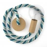 Lampe suspension corde 2XL en en tissu Bernadotte lucide 24 mm, accessoires en bois naturel, Made in Italy