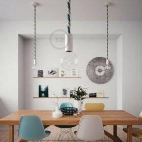 Lampe suspension en bois peint en blanc avec corde 2XL en en tissu Bernadotte lucide 24 mm, Made in Italy