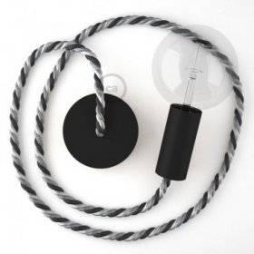 Lampe suspension en bois peint en noir avec corde XL en tissu Orleans lucide 16 mm, Made in Italy