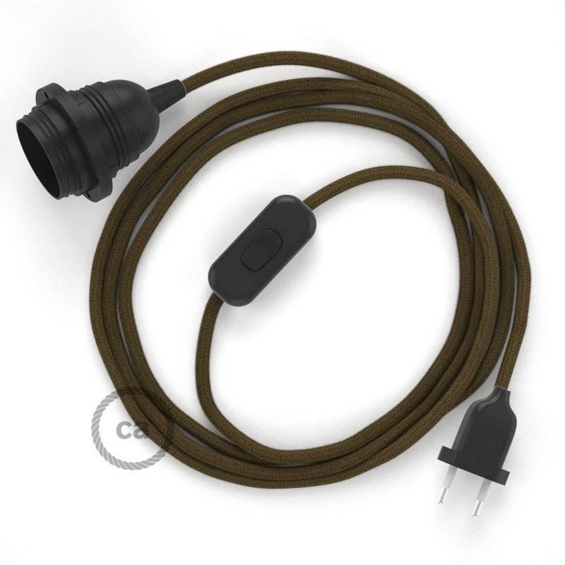 SnakeBis cordon avec douille et câble textile Coton Marron RC13