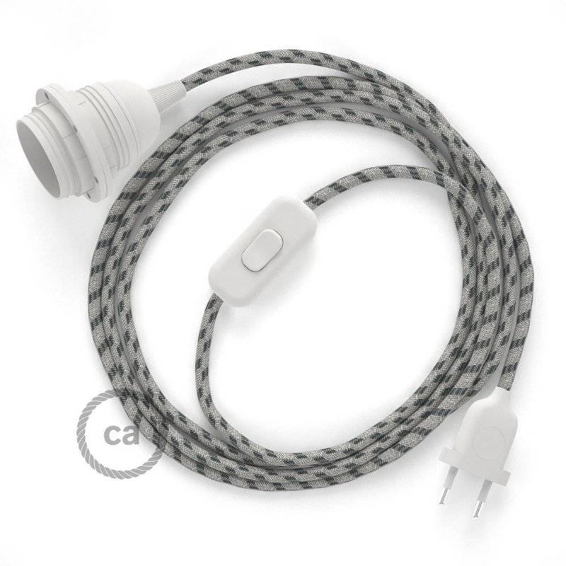SnakeBis cordon avec douille et câble textile Stripes Anthracite RD54