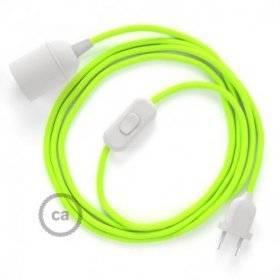SnakeBis cordon avec douille et câble textile Jaune Fluo RF10
