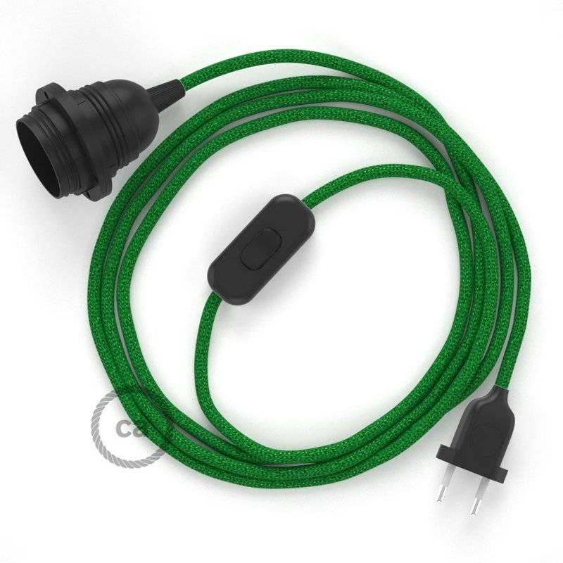 SnakeBis cordon avec douille et câble textile Paillettes Vert RL06