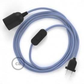 SnakeBis cordon avec douille et câble textile Effet Soie Lilas RM07