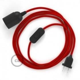 SnakeBis cordon avec douille et câble textile Effet Soie Rouge RM09