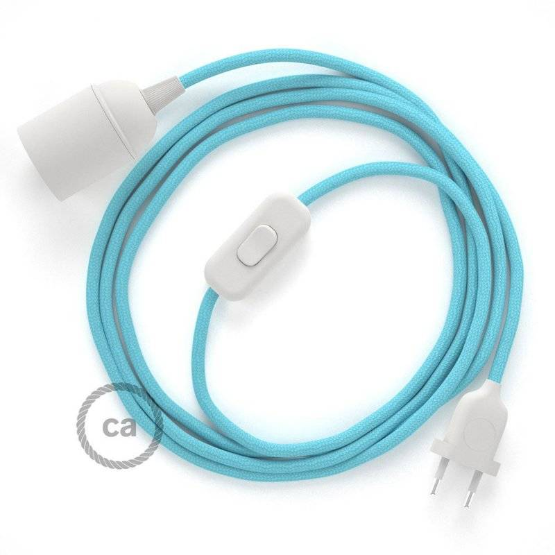 SnakeBis cordon avec douille et câble textile Effet Soie Bleu Azur Baby RM17