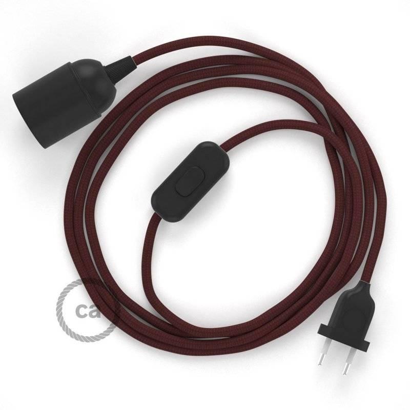 SnakeBis cordon avec douille et câble textile Effet Soie Bordeaux RM19