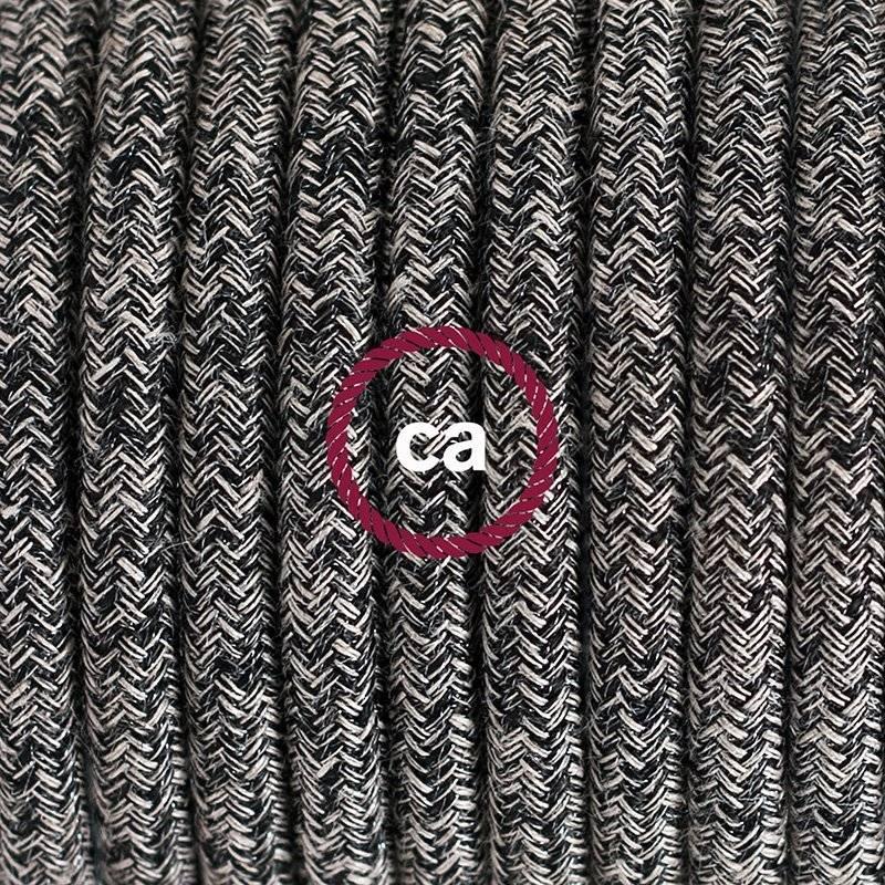 SnakeBis cordon avec douille et câble textile Paillettes et Lin Naturel Noir RS81