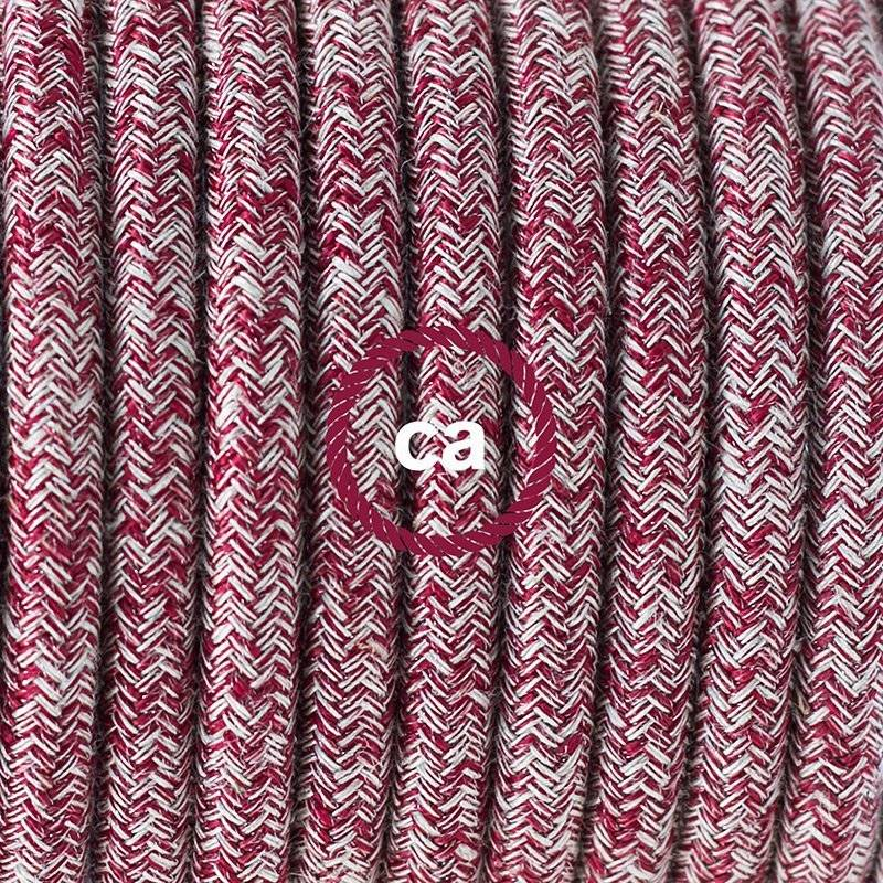 SnakeBis cordon avec douille et câble textile Paillettes et Lin Naturel Rouge RS83