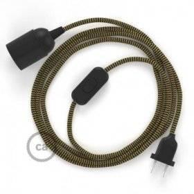 SnakeBis cordon avec douille et câble textile ZigZag Or et Noir RZ24