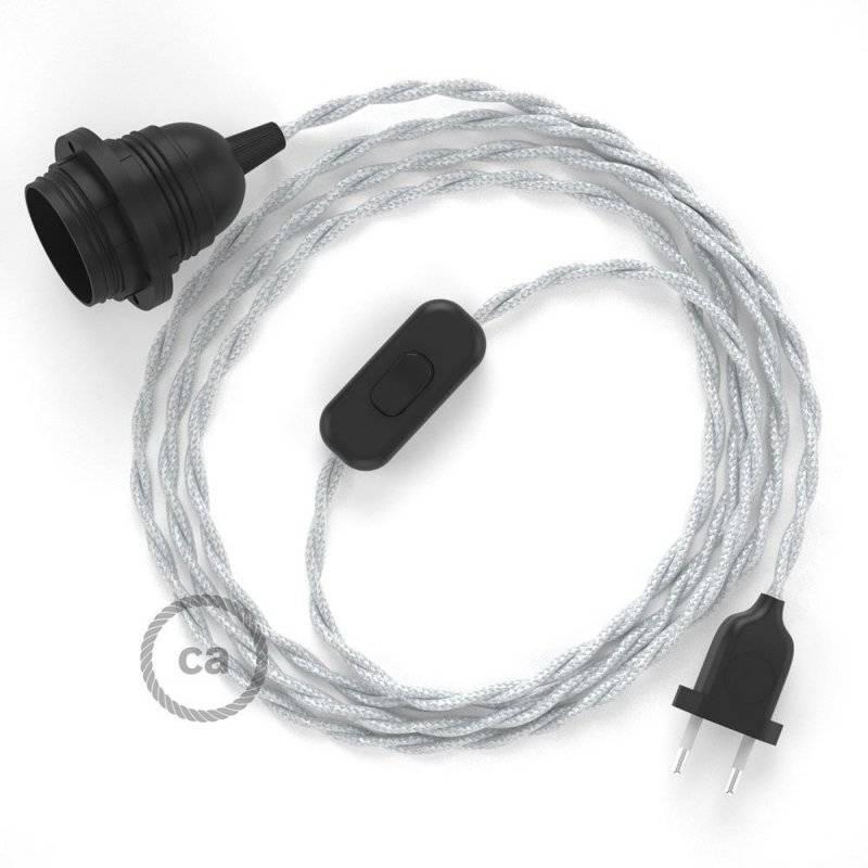 SnakeBis cordon avec douille et câble textile Effet Soie Argent TM02