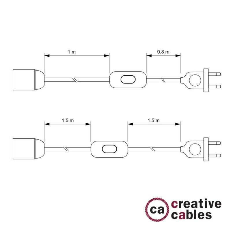 SnakeBis cordon avec douille et câble textile Effet Soie Rouge TM09
