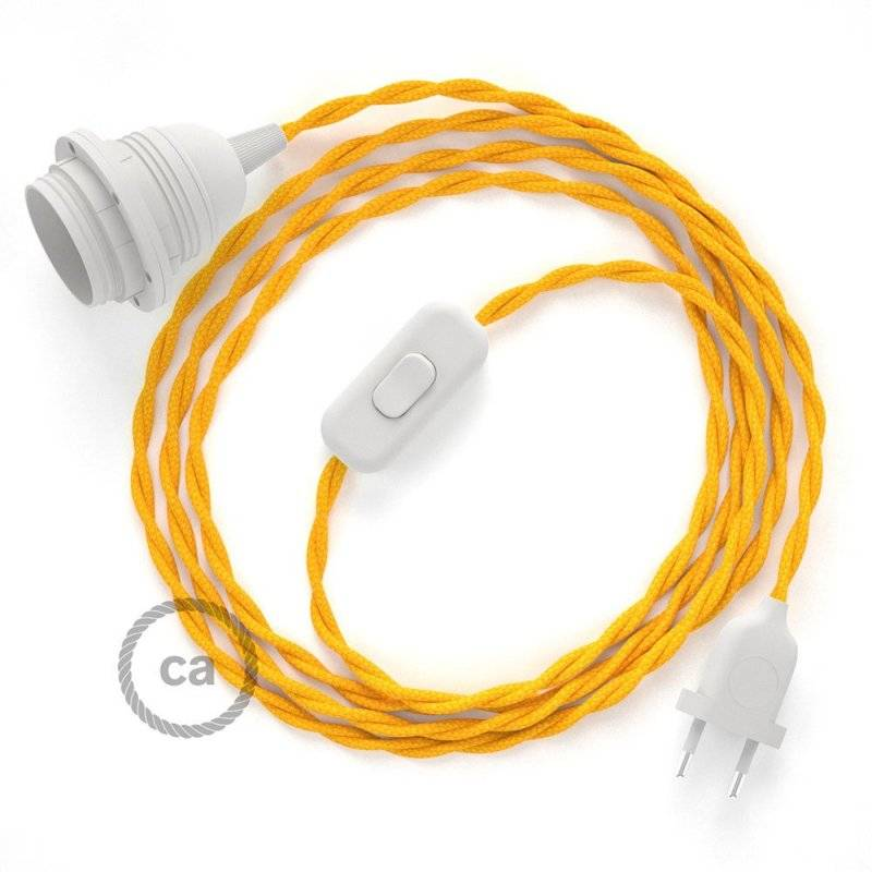 SnakeBis cordon avec douille et câble textile Effet Soie Jaune TM10