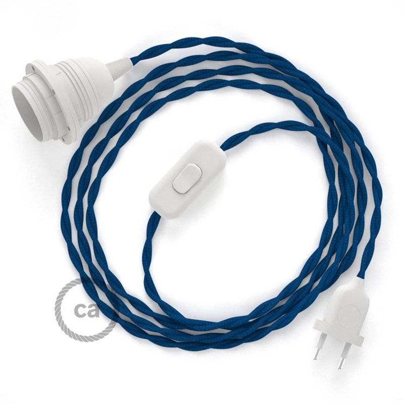 SnakeBis cordon avec douille et câble textile Effet Soie Bleu TM12