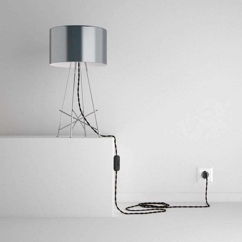 SnakeBis cordon avec douille et câble textile Effet Soie Marron TM13