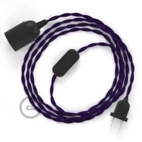 SnakeBis cordon avec douille et câble textile Effet Soie Violet TM14