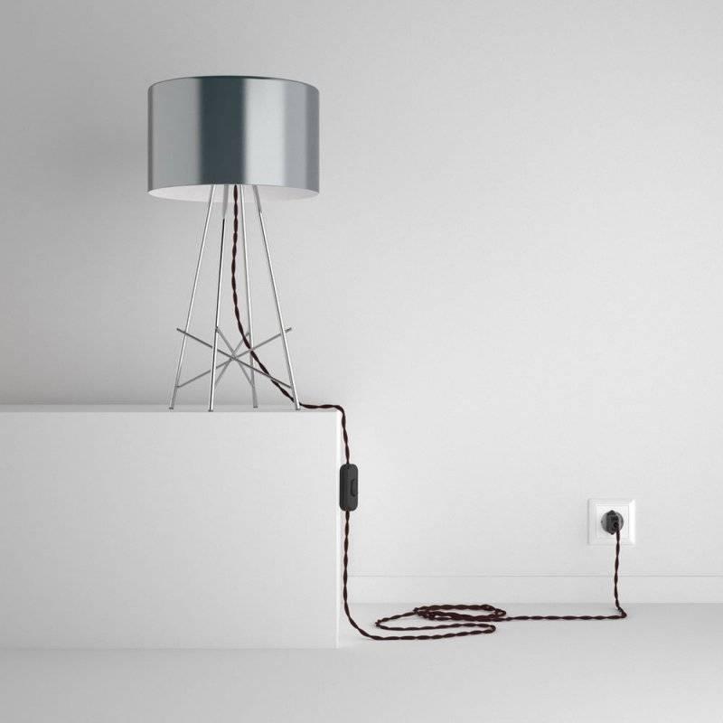 SnakeBis cordon avec douille et câble textile Effet Soie Bordeaux TM19