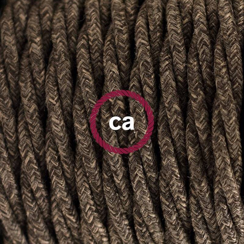SnakeBis cordon avec douille et câble textile Lin Naturel Marron TN04