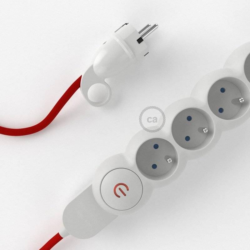 Bloc multiprise avec câble en tissu de couleur effet soie Rouge RM09 et fiche schuko avec anneau confort